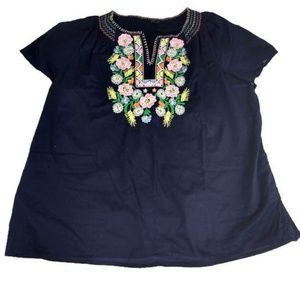 Talbots XL Blue Blouse with Multicolor Embroidered